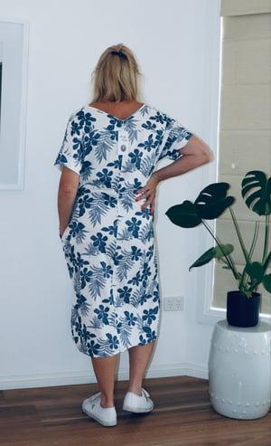 Image of Julie floral straight linen/cotton dress