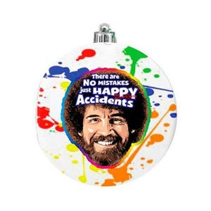 Image of Bob Ross Splatter Glass Ball Ornament
