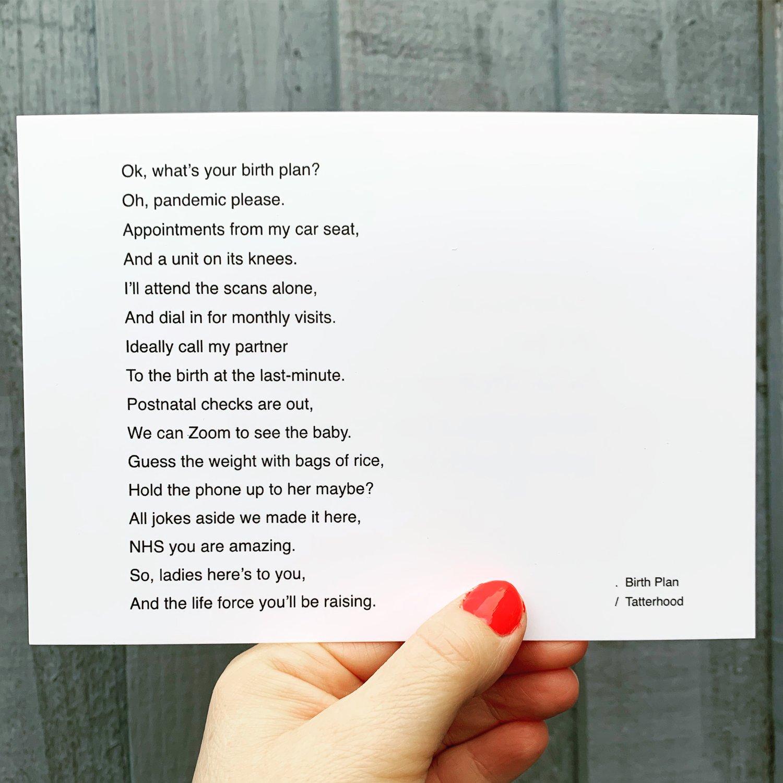 Image of Birth Plan - medium poem postcard
