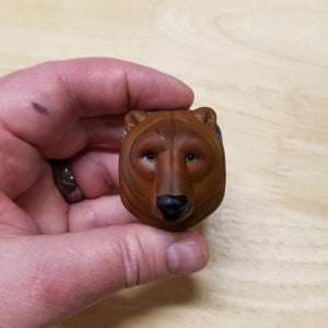 Image of Large Mama Grizzly Bear - Flamework Glass Sculpture Pendant Bead