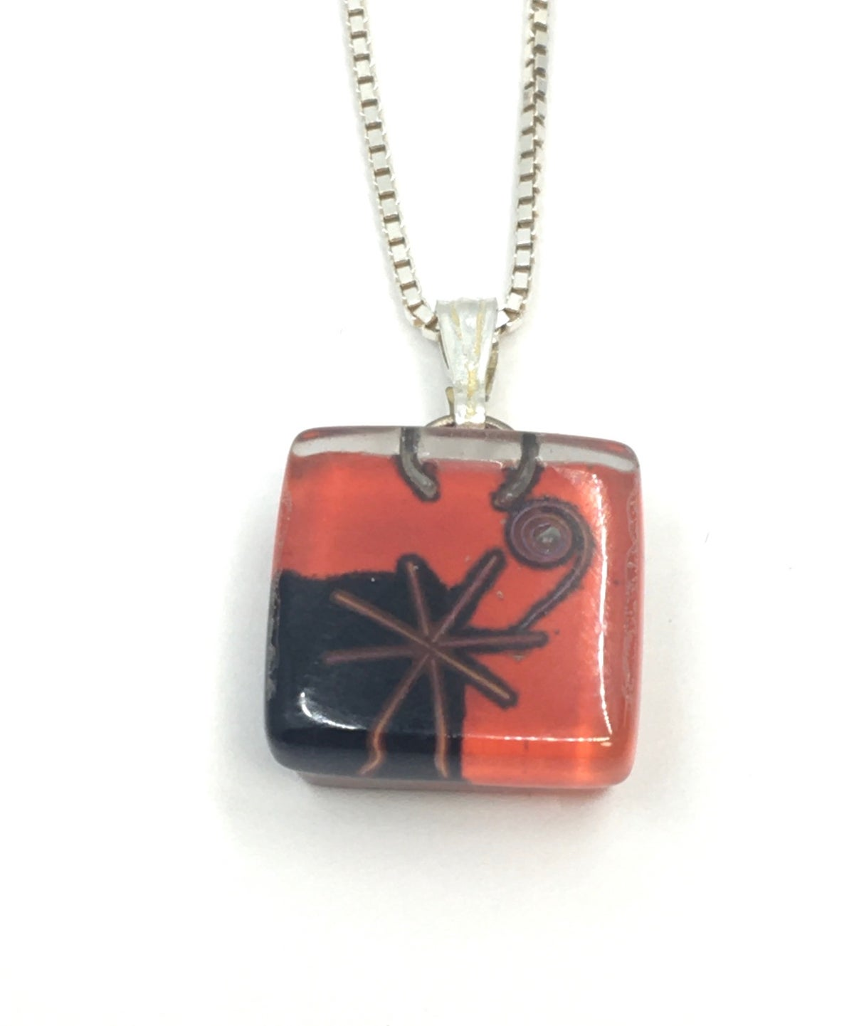 **25% Off** Small Red and Black Square Necklace by Momo Glassworks