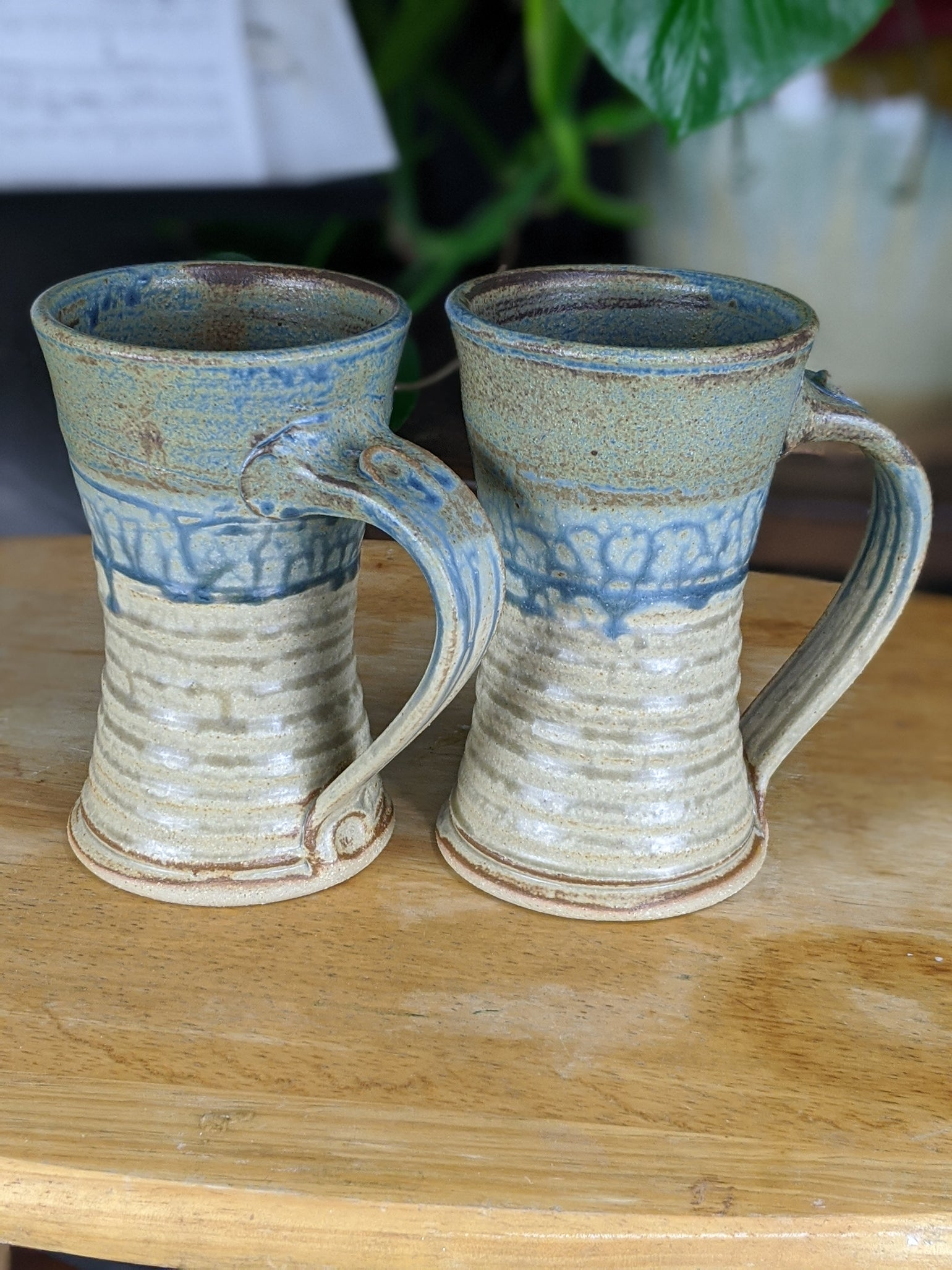 Image of Pair of Blue Steins