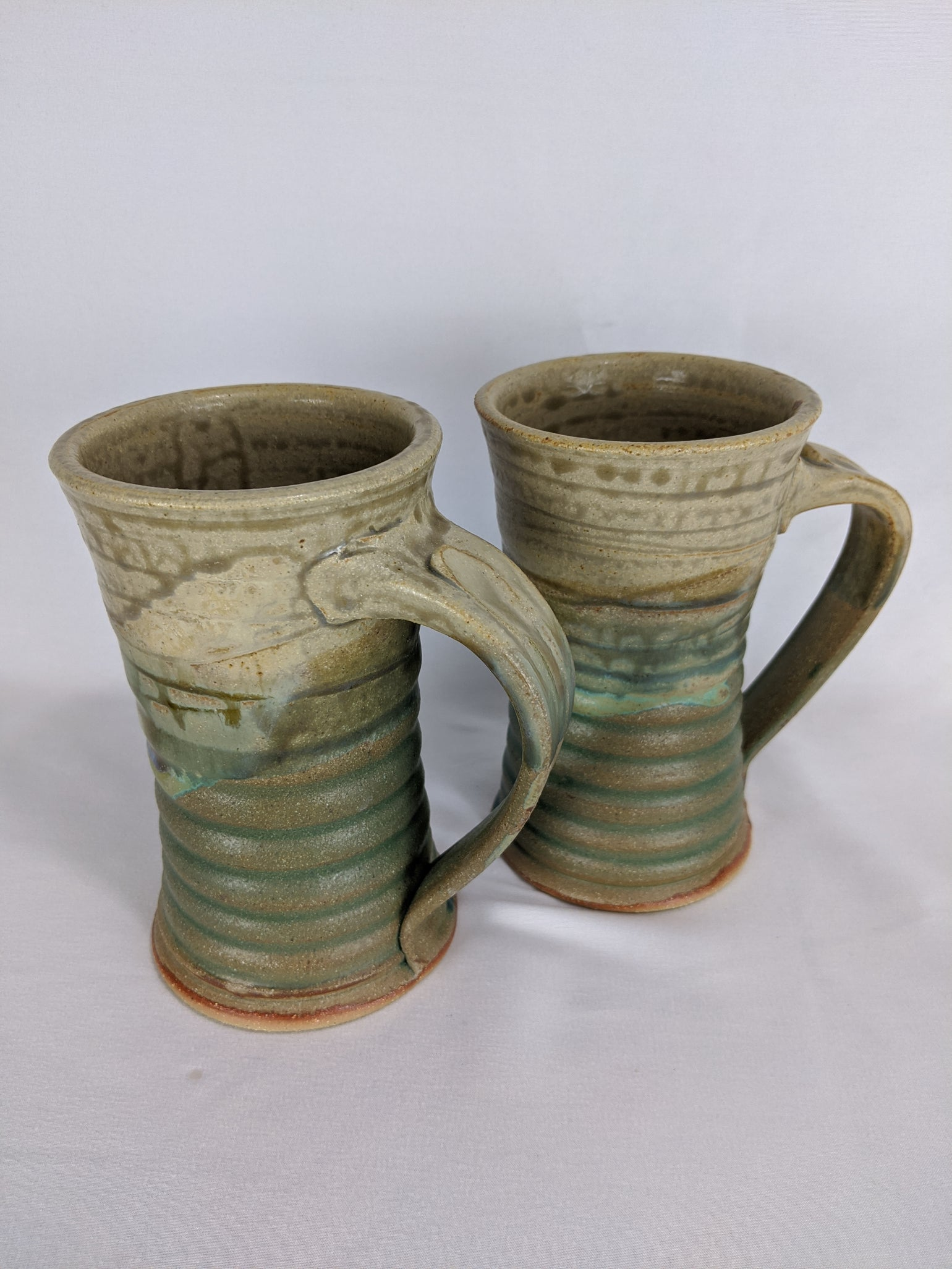 Image of Pair of Lime Green Steins