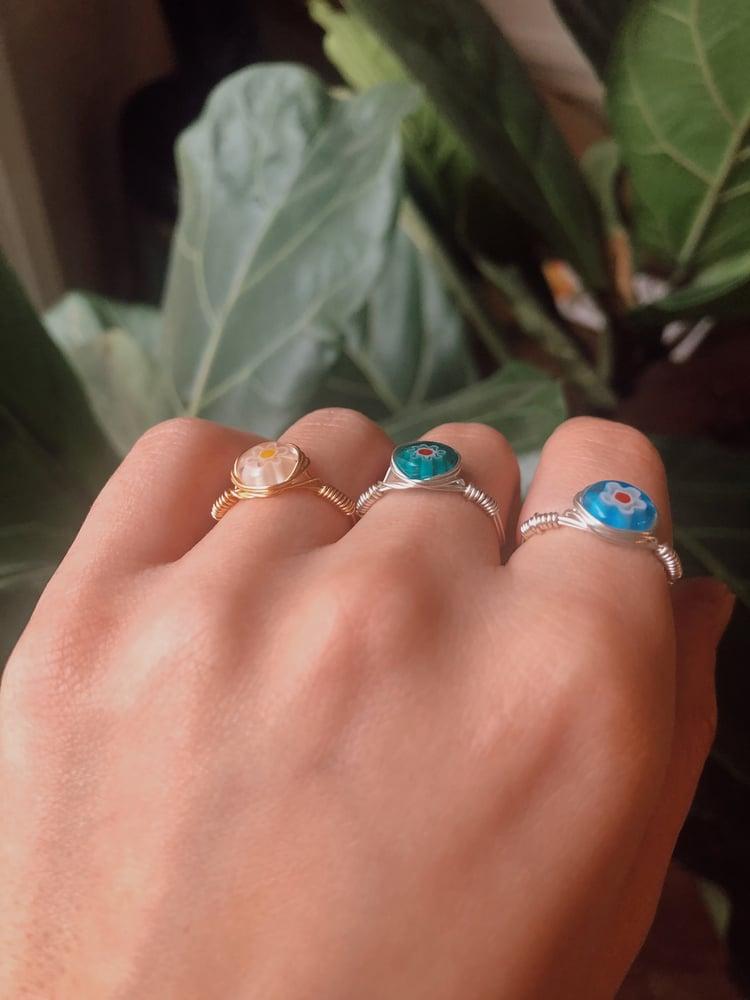 Image of Millefiori Glass Bead Rings