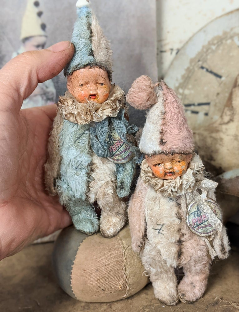 """Image of 5"""" Vintage Shabby Wee little POPPET w/ antique 1930's bisque dolly head by Whendi's Bears"""