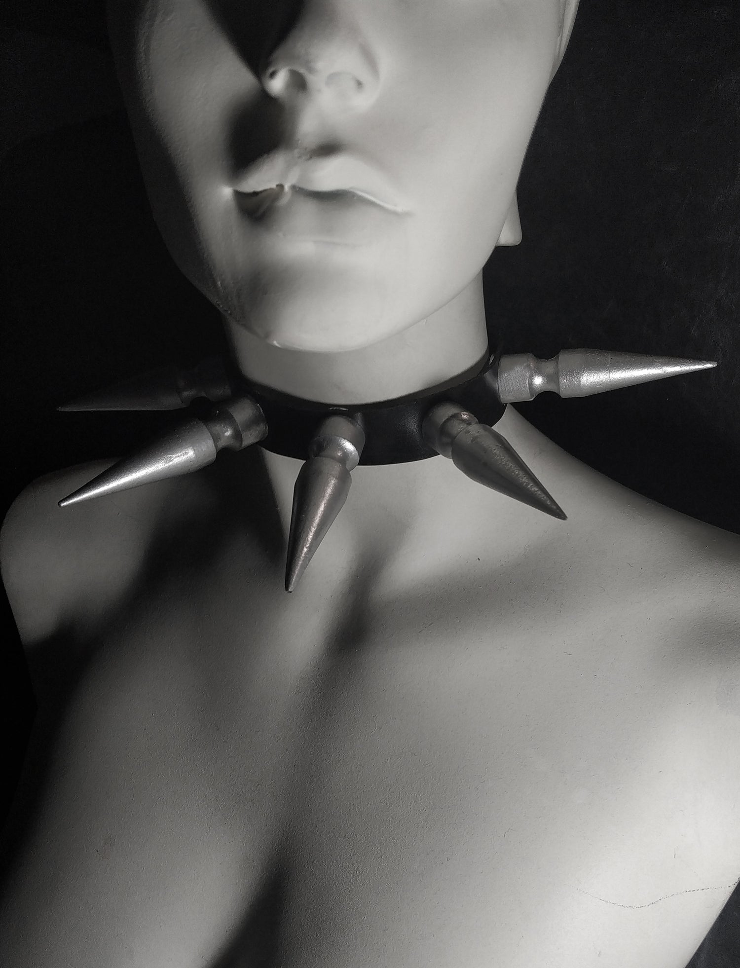 Image of Huge spike faux Vegan leather choker - FREE SHIPPING