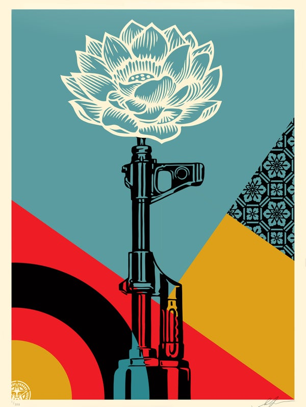 Image of OBEY AK-47 LOTUS PRINT SIGNED & NUMBERED SCREEN PRINT