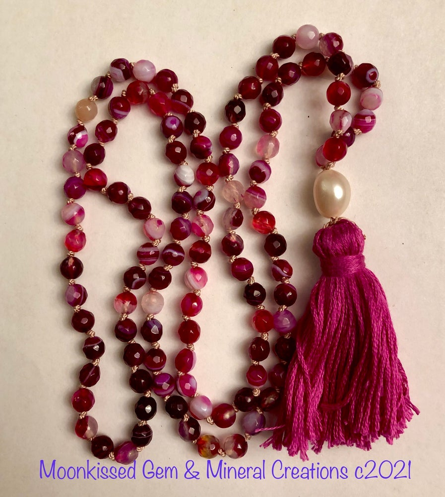 Image of Fuschia Cracked Ice Agate Mala