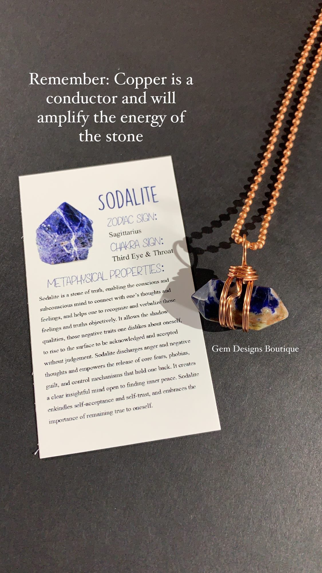 Sodalite Copper Wrapped Necklace - A