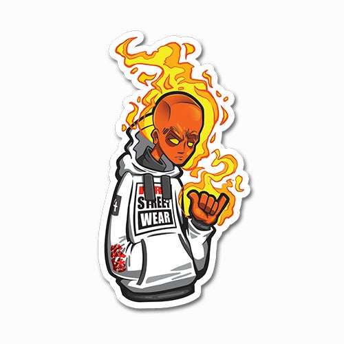 Image of Human Torch Rocking a Skater Hoodie Sticker