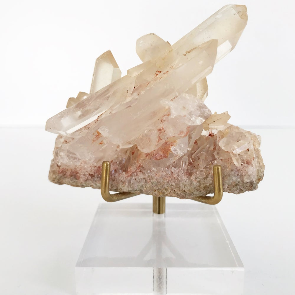 Image of Pink Quartz no.61 + Lucite and Brass Stand