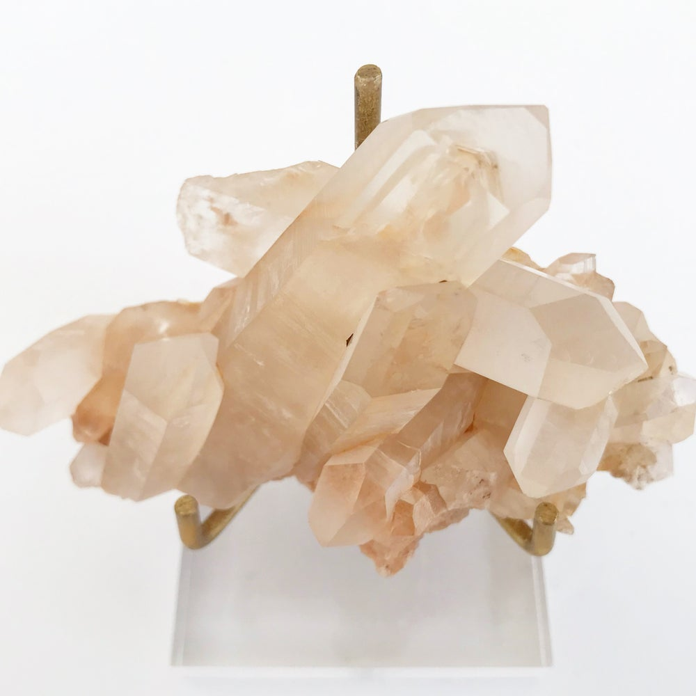 Image of Pink Quartz no.93 + Lucite and Brass Stand