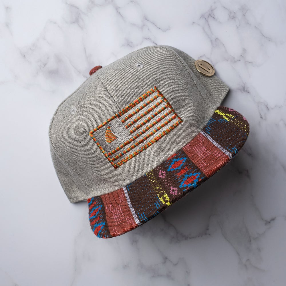 1 OF 1. Teal Town Flag on a grey and red tribal snapback