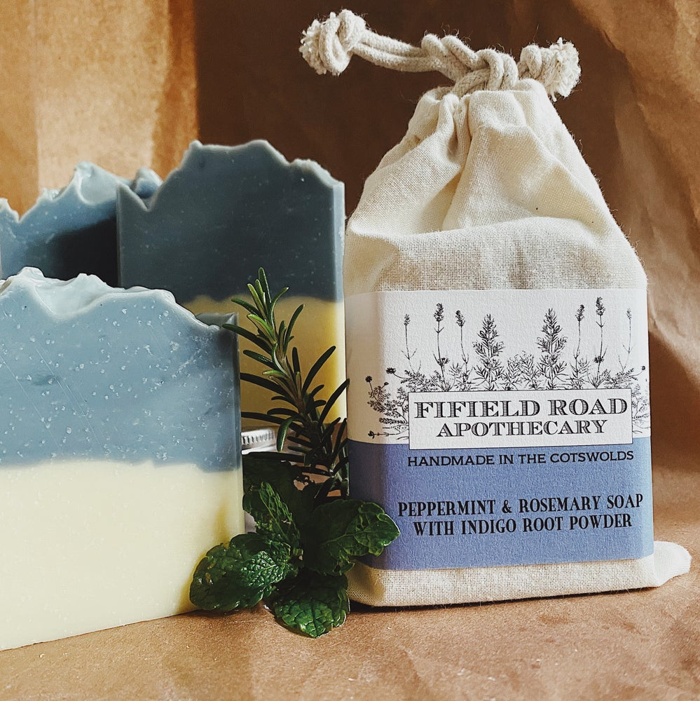 Image of Peppermint and Rosemary Soap with Indigo Root Powder