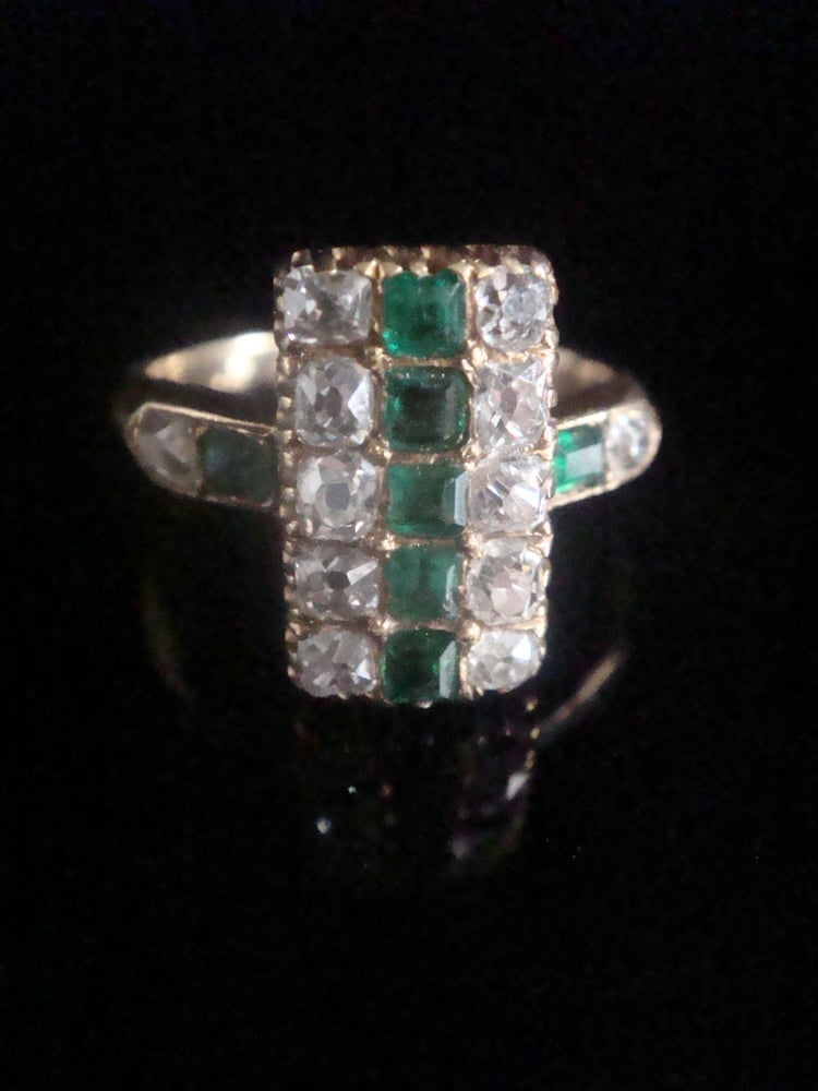 Image of FRENCH VICTORIAN 18CT YELLOW GOLD EMERALD AND OLD CUT DIAMOND 0.72CT RING