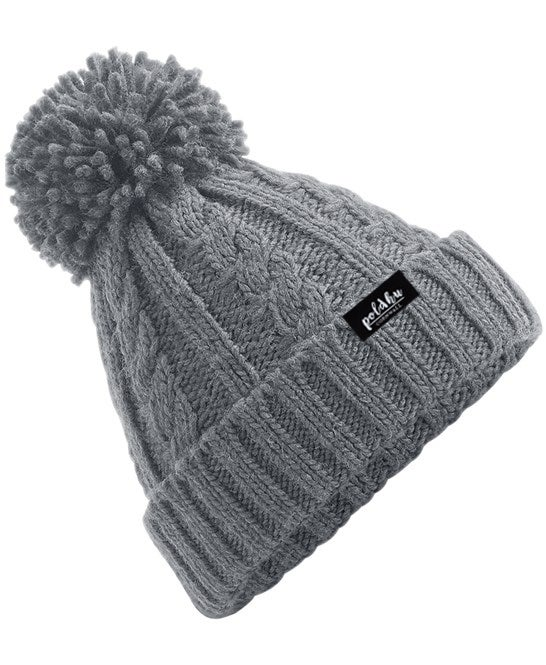 CABLE KNIT BOBBLE HAT - GREY