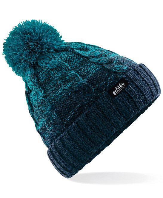 OMBRE BOBBLE HAT - TEAL