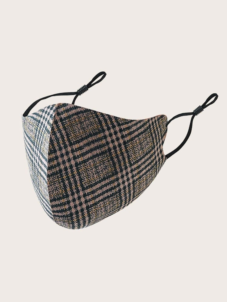Image of BROWN/TAN PLAID FACE MASK