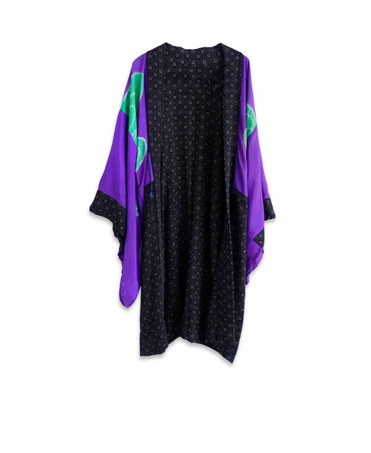 Image of NY: Kort kimono - sortbrun m. mønster og lilla for