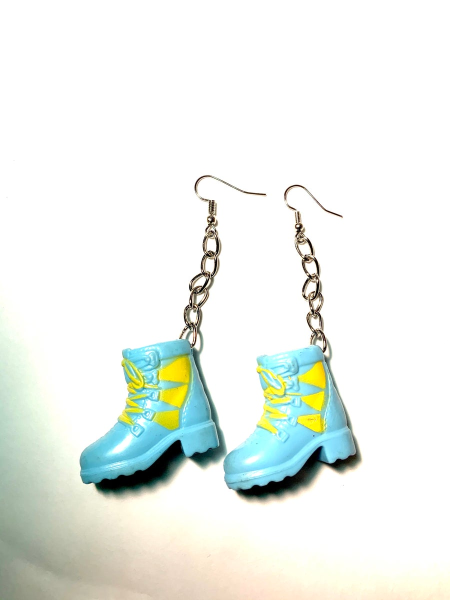 Image of Barbie Blue and Yellow Boots Earrings