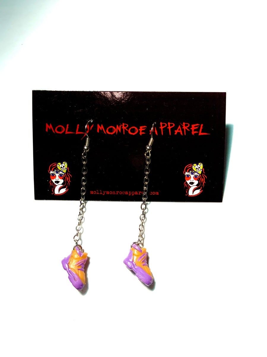 Image of Polly Pocket Orange and Purple Sneaker Earrings