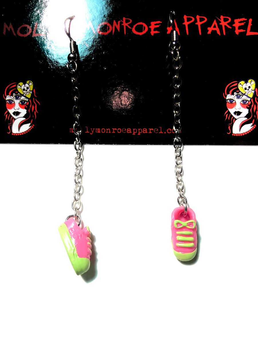 Image of Polly Pocket Pink and Green Sneaker Earrings