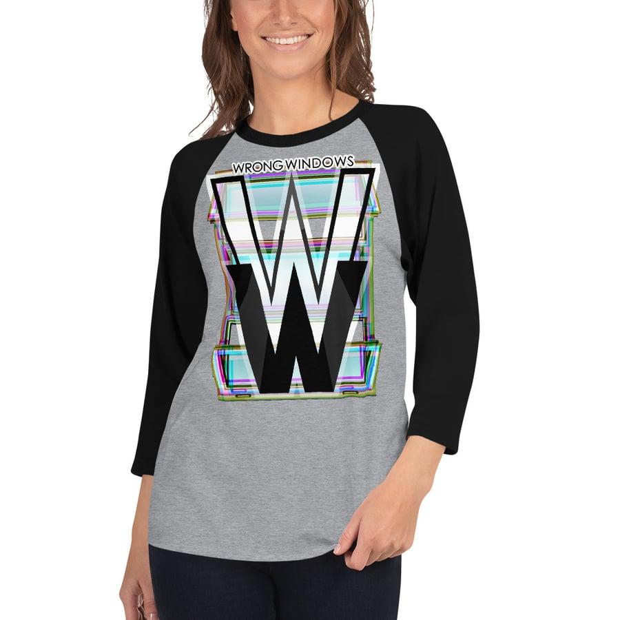 Image of WW 3/4-Sleeve Raglan Shirt (Logo Variation #4 on Pale Fabric)