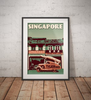 Image of Vintage poster Singapore - Tiger Beer - Travel Gift - Fine Art Print - Green