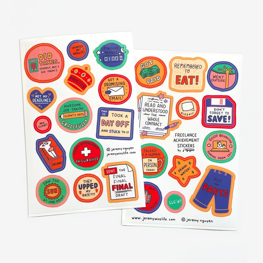 Image of Freelance Achievement Sticker Sheet Set