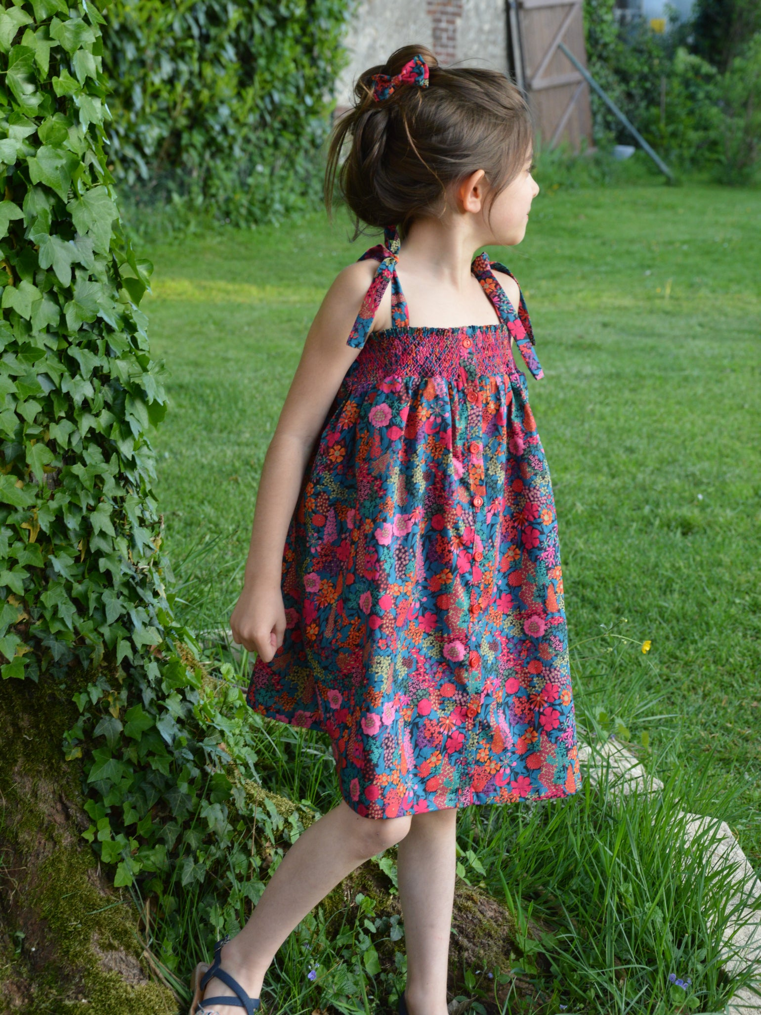 Image of Robe liberty ciara fuschia et smocks