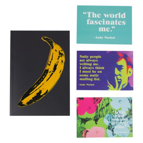 Image of Andy Warhol Banana Notebook with Postcard Set