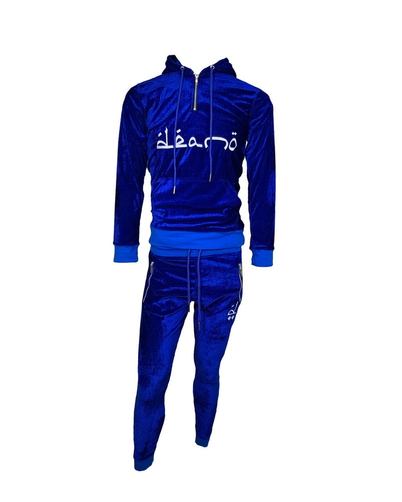 Image of Big Don Velour Sweatsuit Blue