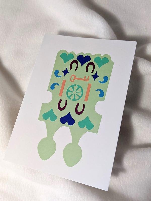 Image of Love Spoon Greeting Card- Cerdyn Llwy Garu