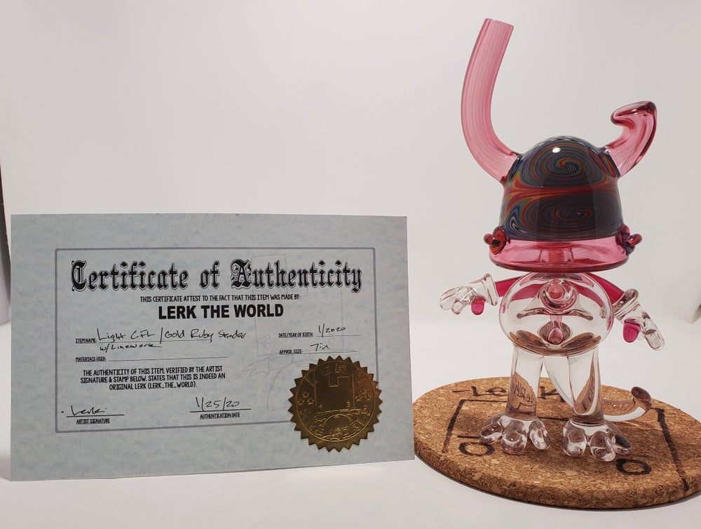 Image of Lerk the World - Light CFL Gold Ruby Stander w/ Certificate
