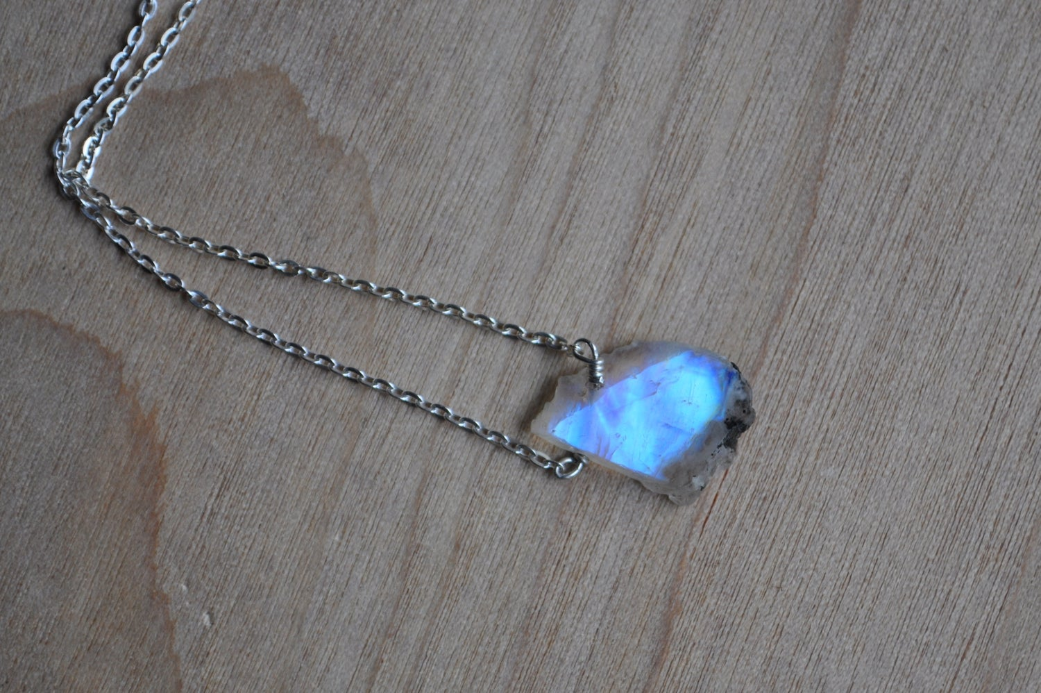 Image of Raw Rainbow Moonstone on Sterling Silver