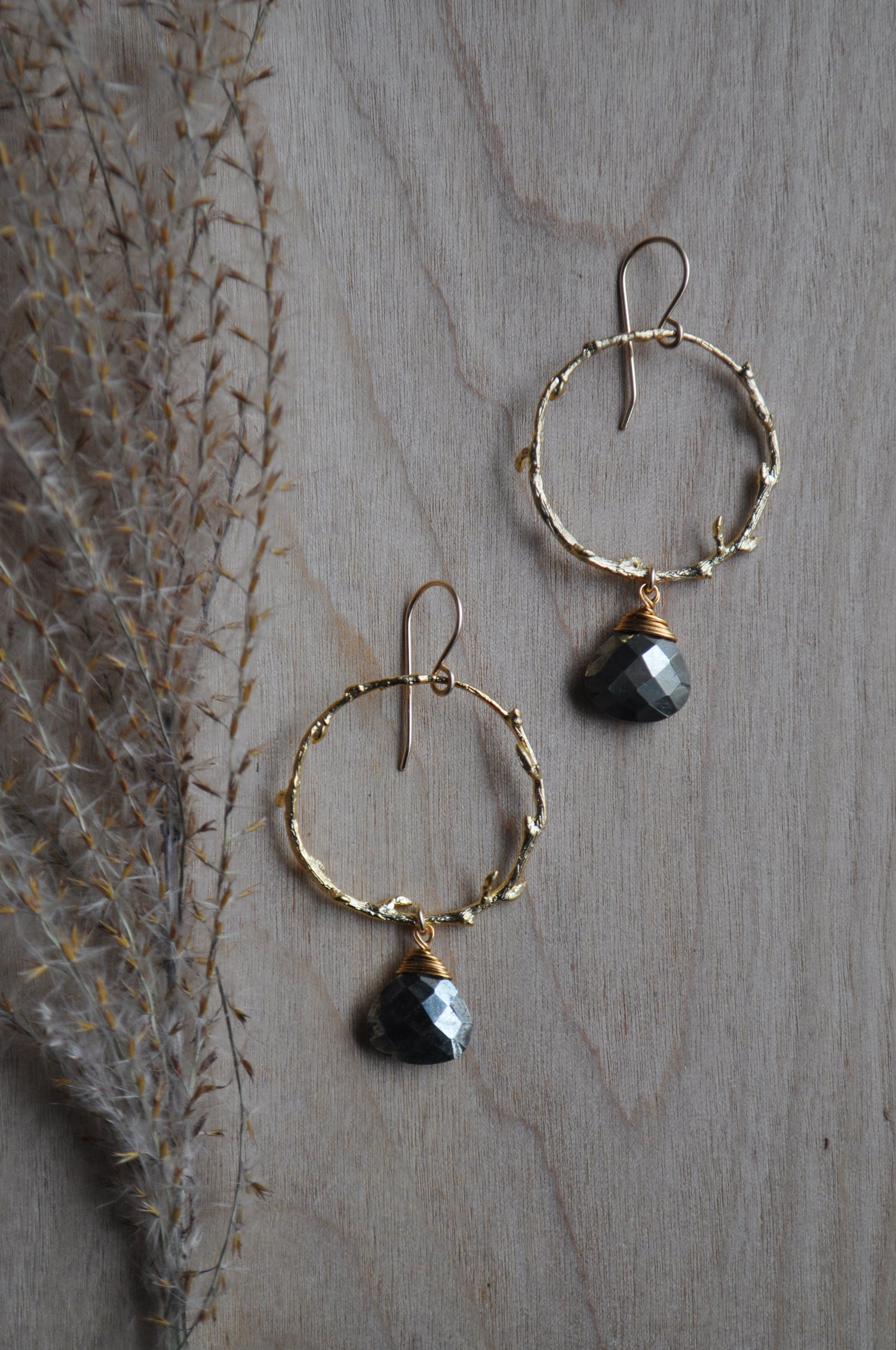 Image of Pyrite Branch Hoop Dangles