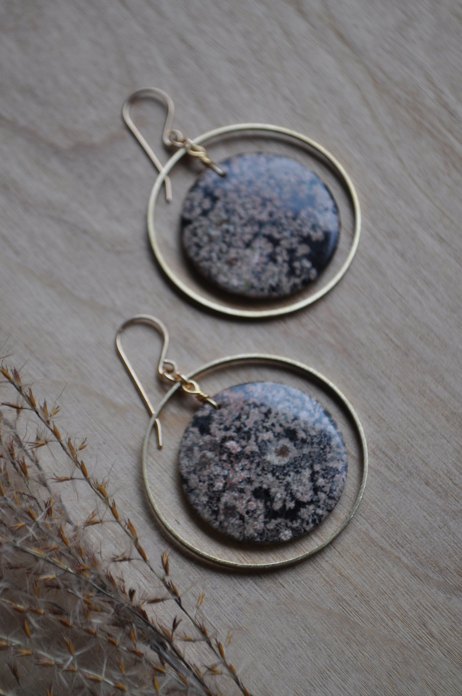 Image of One of a Kind Snowflake Obsidian Hoops