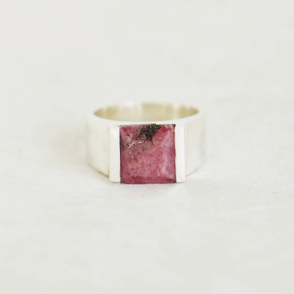 Image of Natural Rhodochrosite square cut wide band silver ring