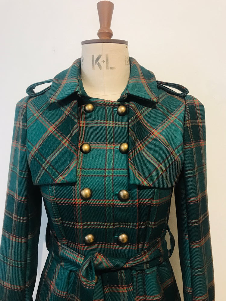 Image of Green tartan wool belted trench coat