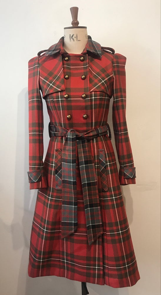 Image of Double tartan wool belted trench coat