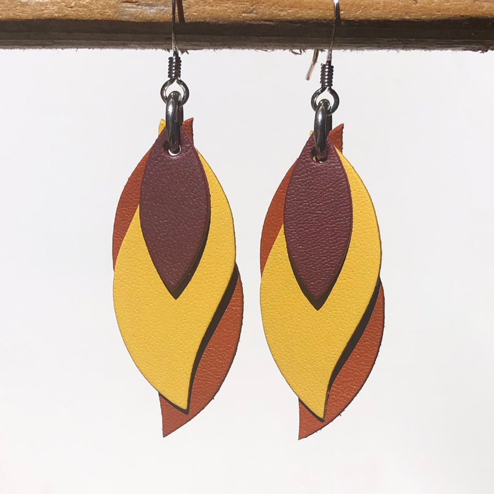 Image of Handmade Kangaroo leather leaf earrings - Maroon, yellow, rust