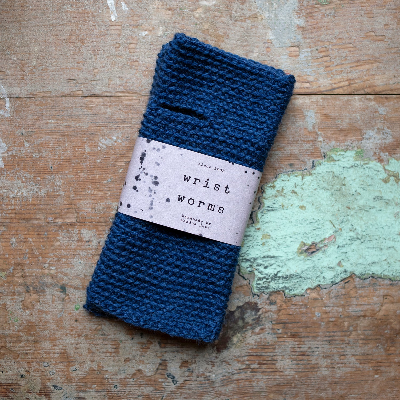 Wrist Worms, Wool, Blue
