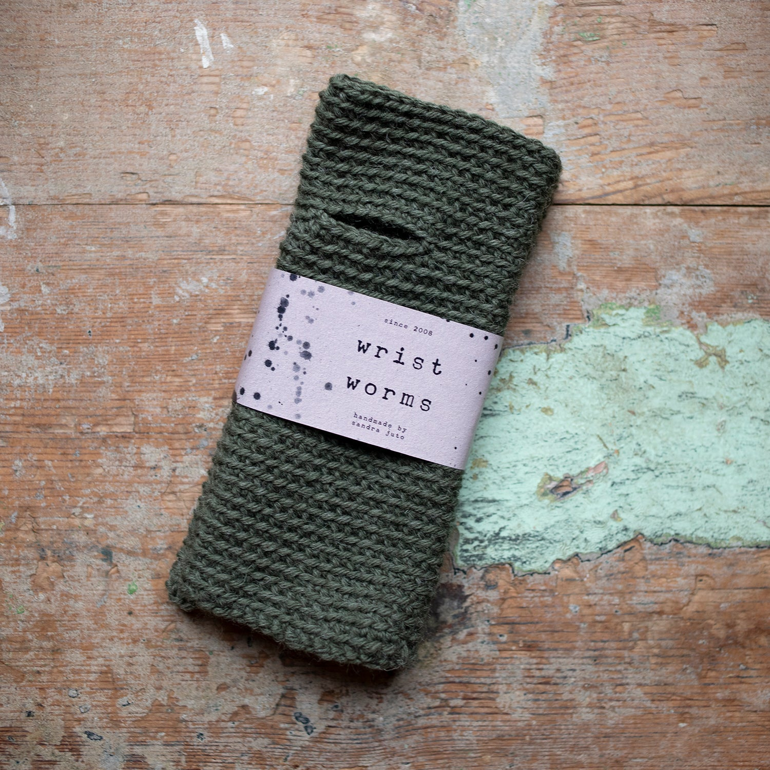 Wrist Worms, Wool, Olive