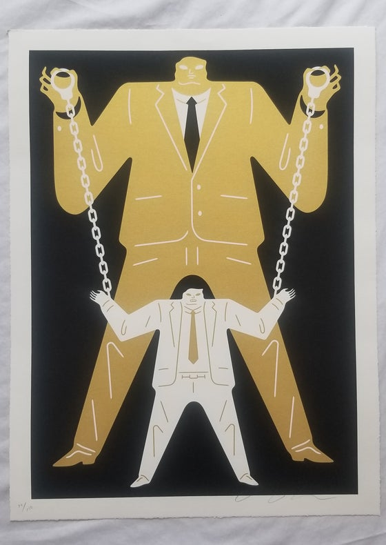 Image of Cleon Peterson  Little Man Big Man Mueller / Trump Gold