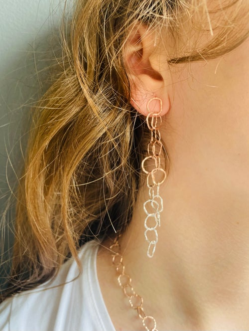 Image of Afiok cascade earrings- rose gold vermeil/ sterling silver