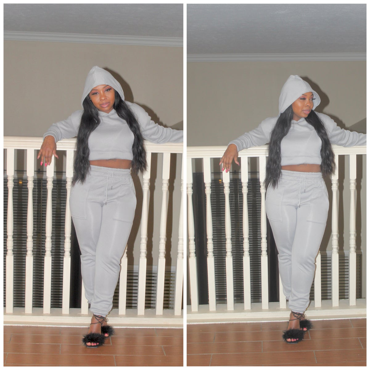 "Image of ""Chillin"" 2 Piece Gray Jogger set"