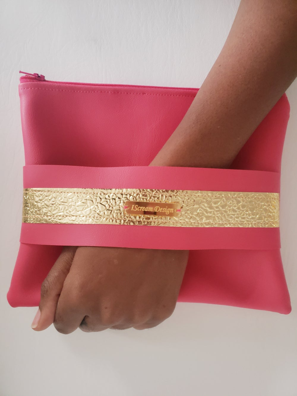 Image of Hot Pink Gold Clutch with Hand Strap