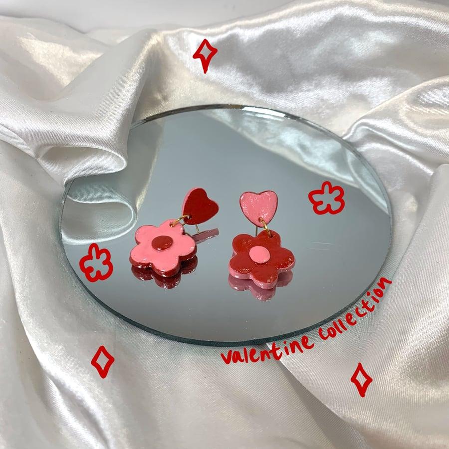 Image of heart & flower dangles