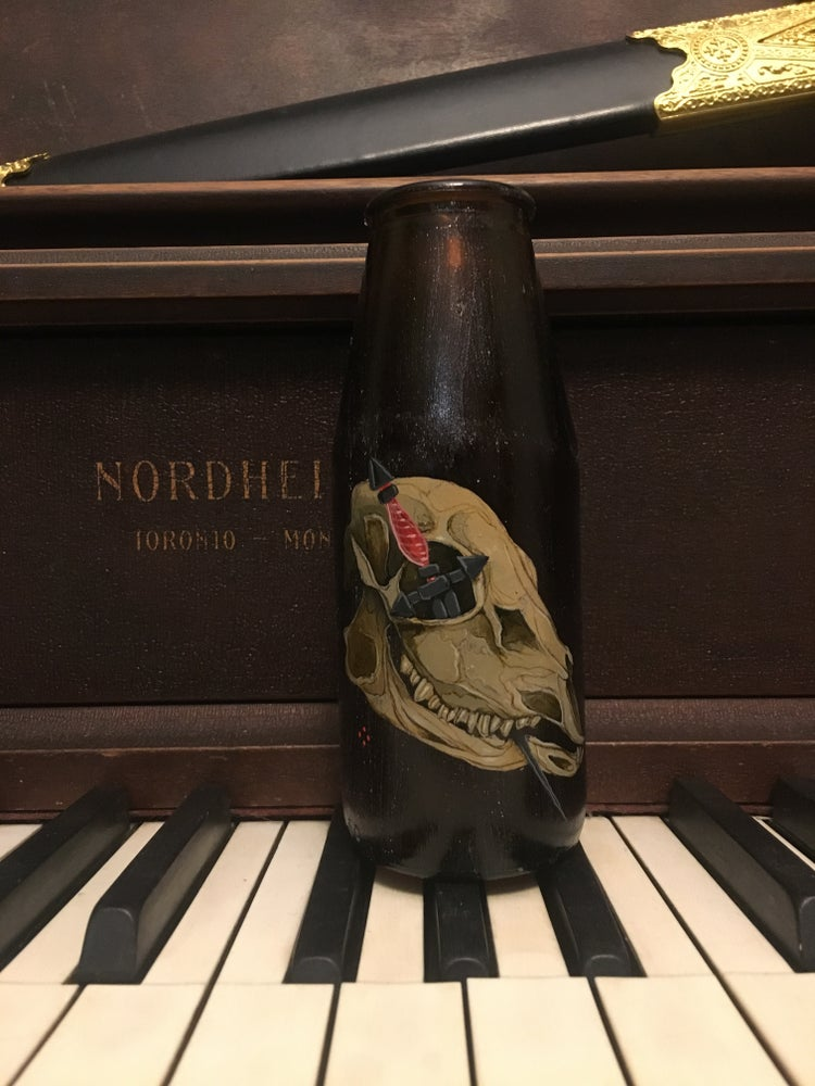Image of Painted Vintage Glass Bottle with Skull