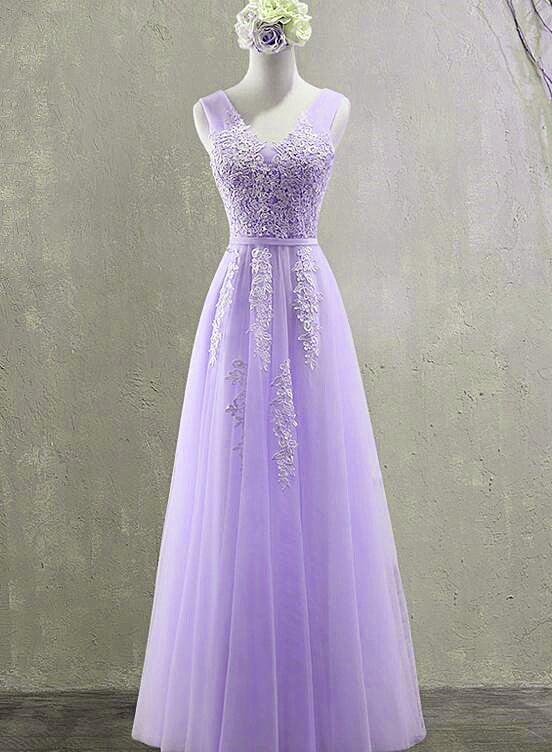 Lovely Light Purple Tulle Long Party Dress 2021, Floor Length Prom Dress